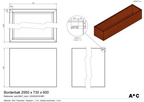Borderbak in cortenstaal - 295 x 73 x 60 cm - cortenstalen producten