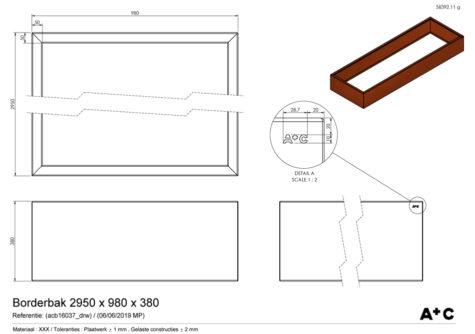 Borderbak in cortenstaal - 295 x 98 x 38 cm - cortenstalen producten