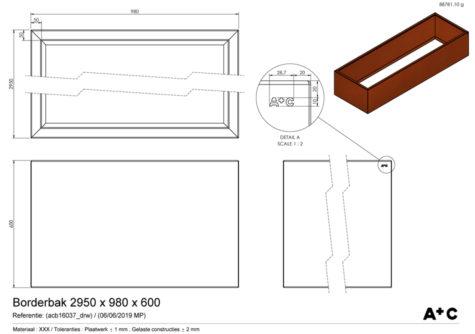 Borderbak in cortenstaal - 295 x 98 x 60 cm - cortenstalen producten