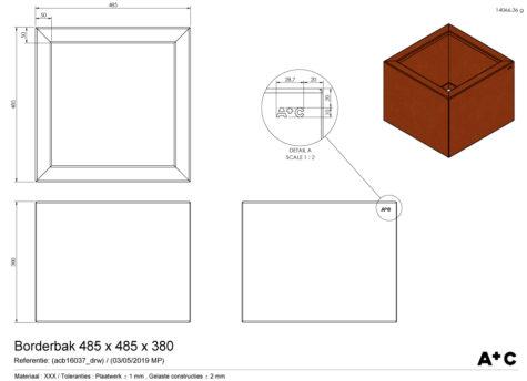 Borderbak / Plantenbak in cortenstaal - 48,5 x 48,5 x 38 cm - cortenstalen producten