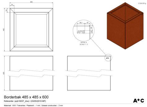Borderbak / Plantenbak in cortenstaal - 48,5 x 48,5 x 60 cm - cortenstalen producten