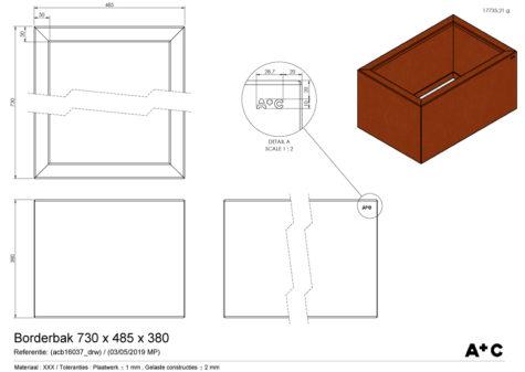 Borderbak / Plantenbak in cortenstaal - 73 x 48,5 x 38 cm - cortenstalen producten
