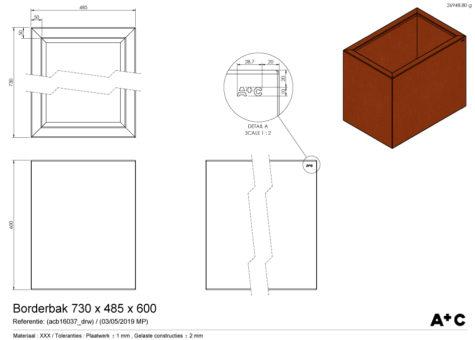 Borderbak / Plantenbak in cortenstaal - 73 x 48,5 x 60 cm - cortenstalen producten