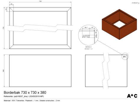 Borderbak / Plantenbak in cortenstaal - 73 x 73 x 38 cm - cortenstalen producten