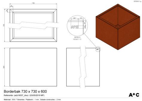 Borderbak / Plantenbak in cortenstaal - 73 x 73 x 60 cm - cortenstalen producten