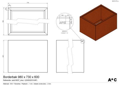 Borderbak / Plantenbak in cortenstaal - 98 x 73 x 60 cm - cortenstalen producten