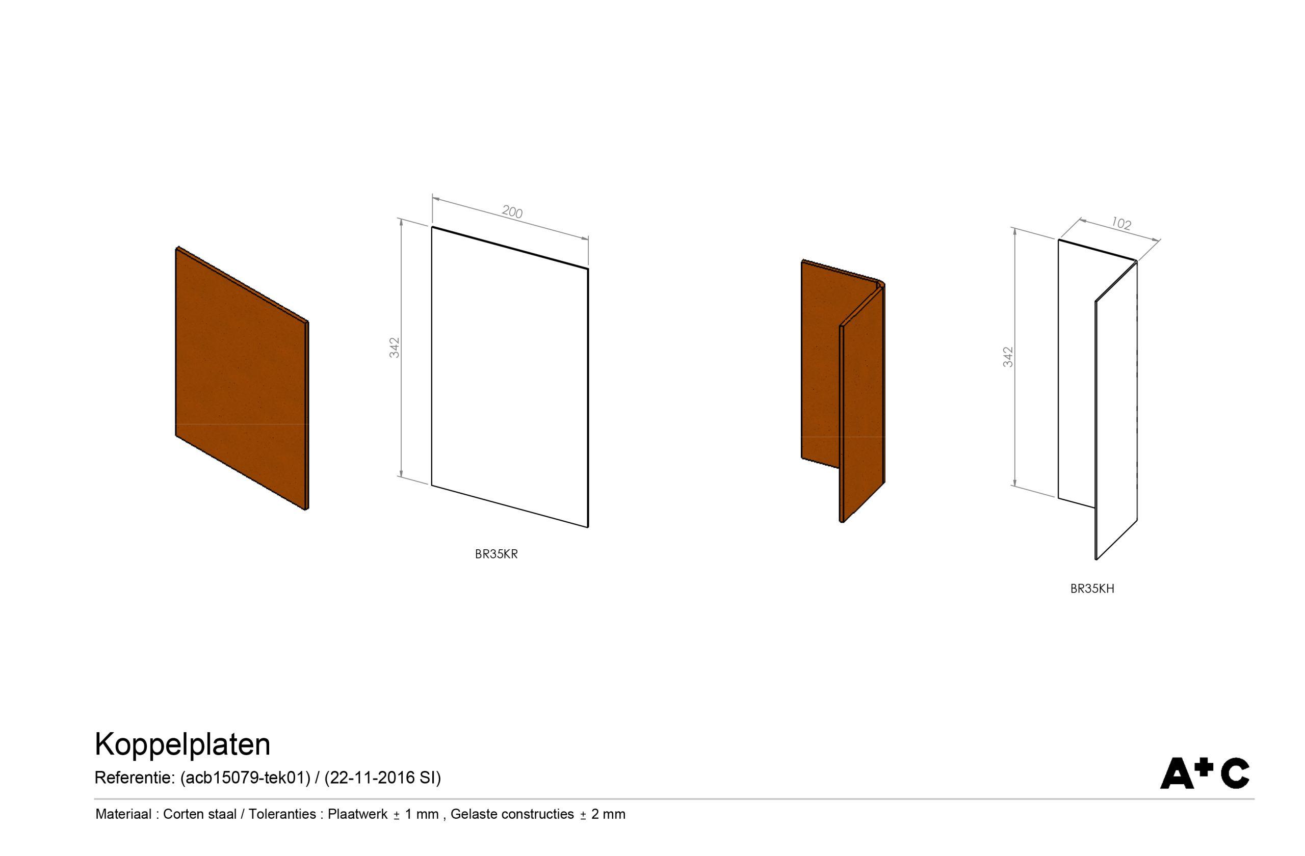 H35 | Koppelplaat hoek - cortenstalen producten
